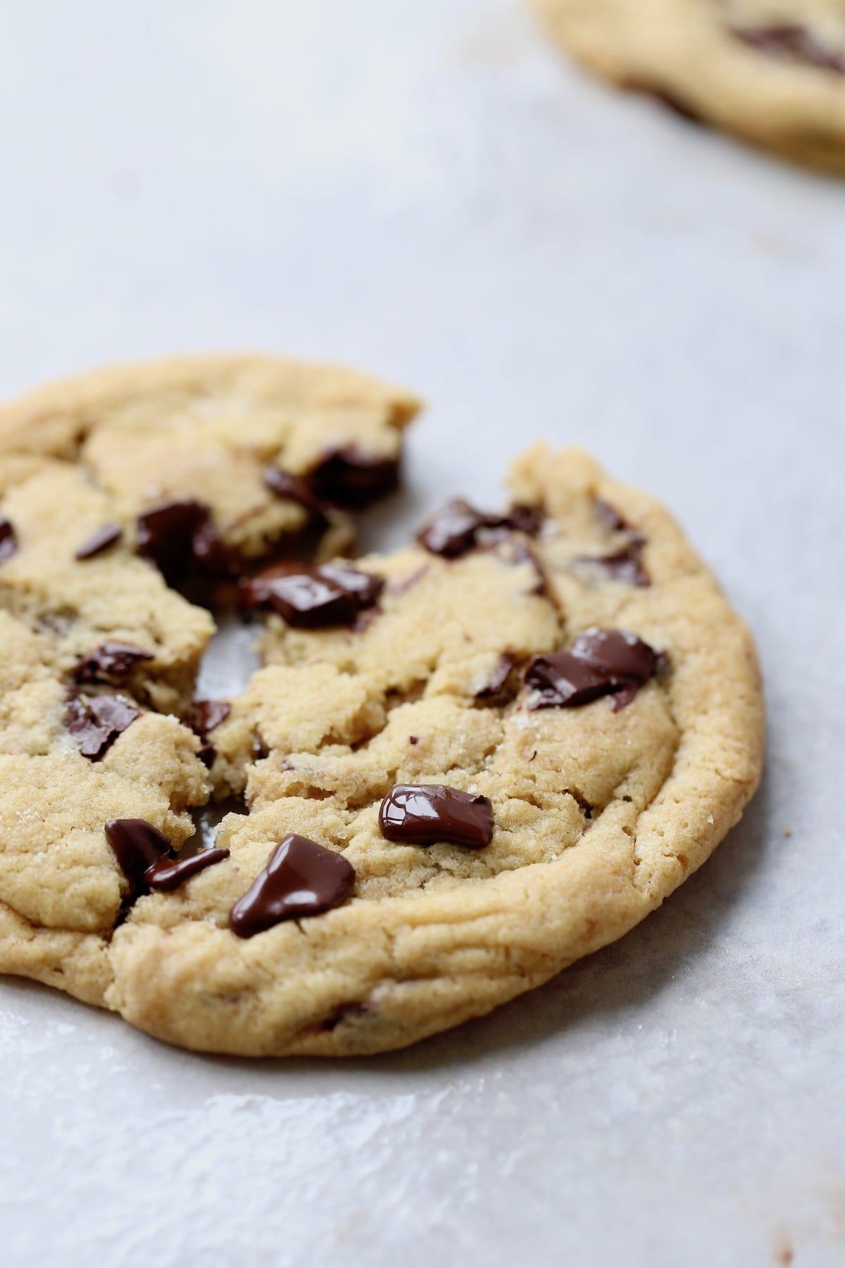 a broken chocolate chip cookies