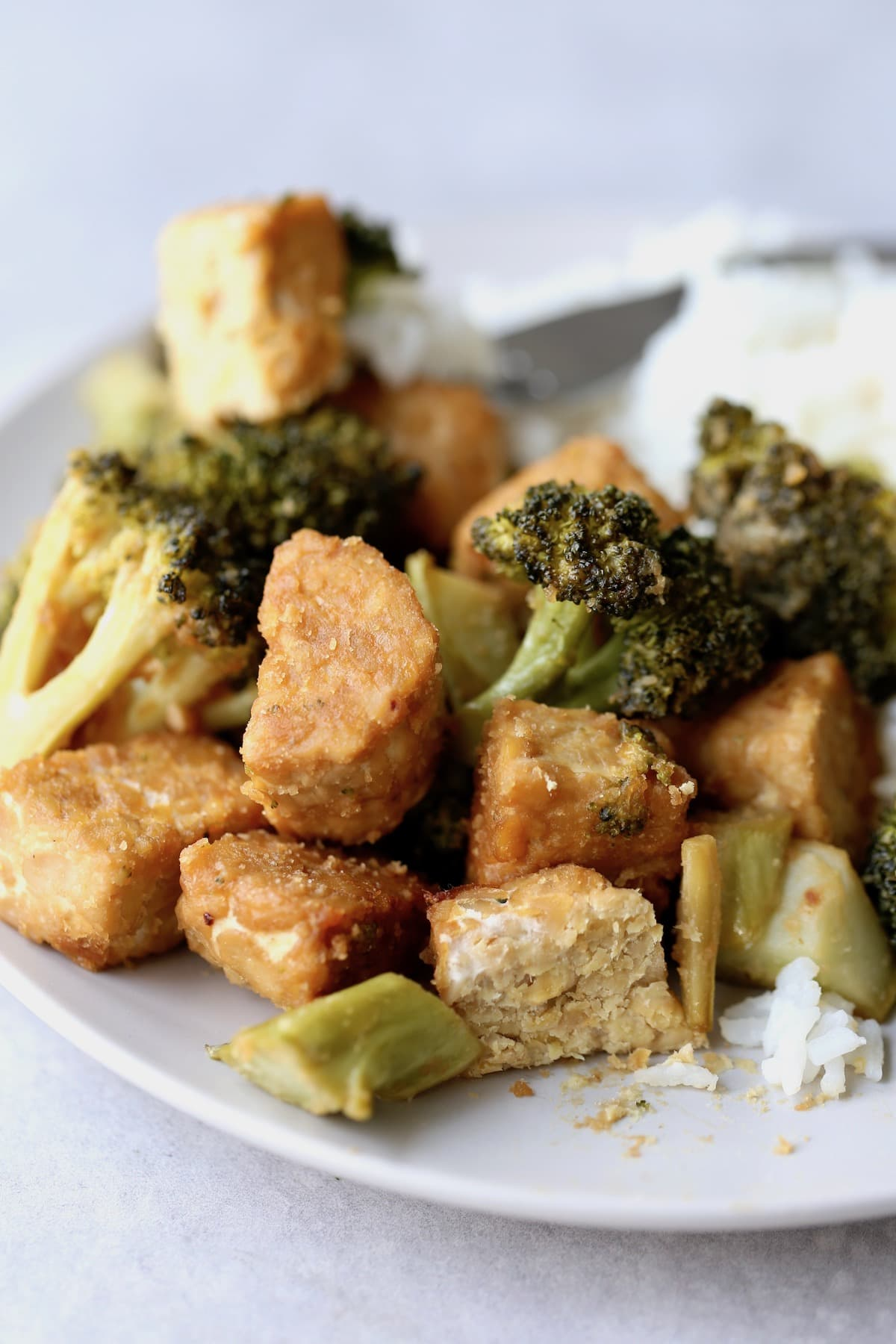 golden brown peanut butter tempeh with broccoli and rice on a plate