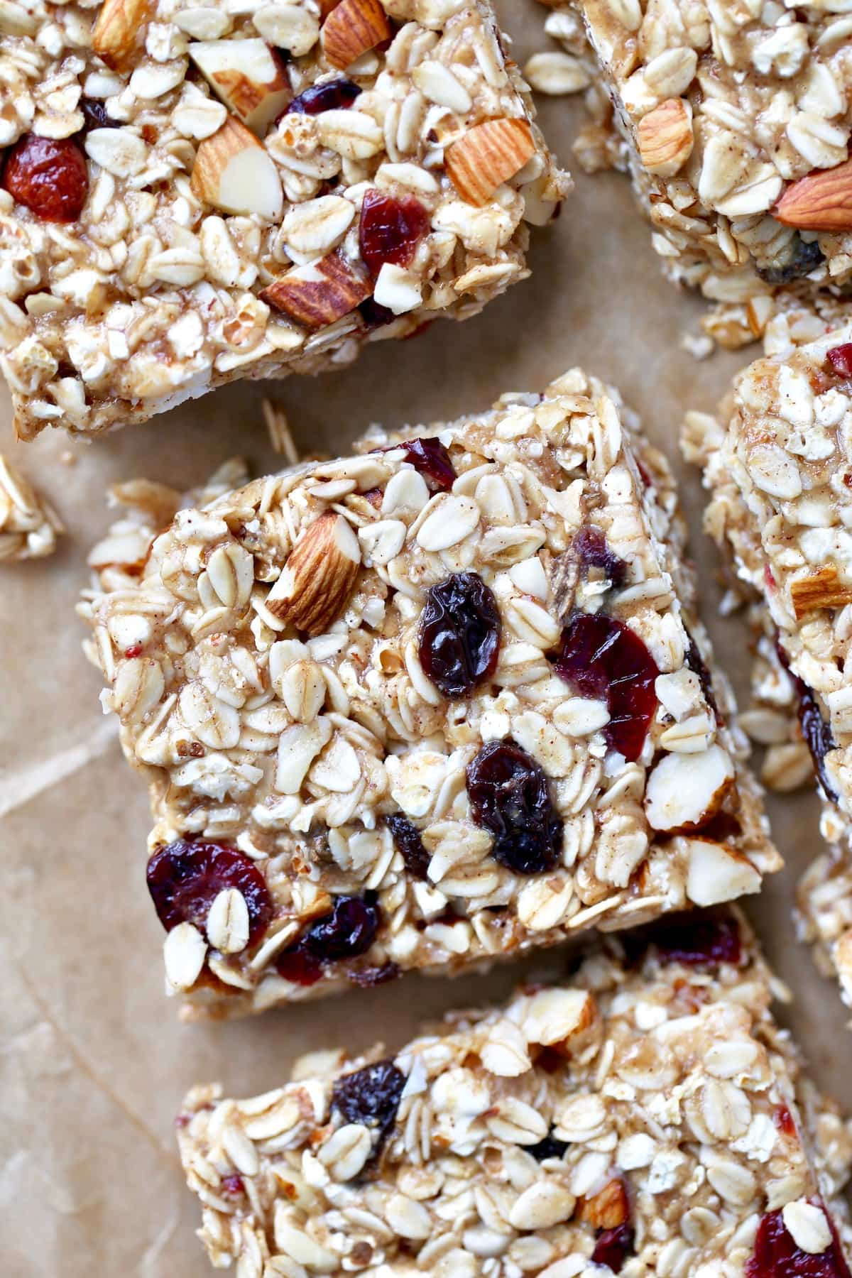 chewy popcorn granola bars on baking paper