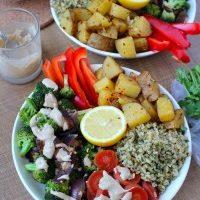 Lemon Cilantro Rice, Spicy Potatoes, Veggies & Tahini Dressing
