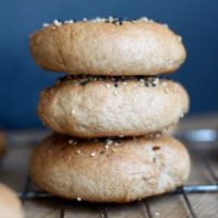 Vegan Sesame Whole Wheat Bagels