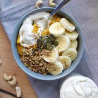 Pumpkin Oatmeal with Caramelized Buckwheat and Cream