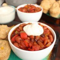 Three Bean Vegan Chili with Cashew Cream
