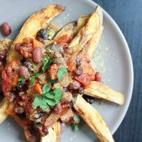 Vegan Chili Loaded Sweet Potato Fries
