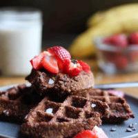 Vegan Chocolate Oat Flour Waffles