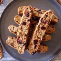 Vegan Cranberry Pistachio Biscotti