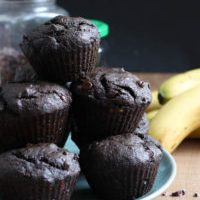 Double Chocolate Black Tahini Banana Muffins