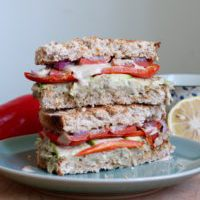 Baba Ganoush Sandwich With Roasted Vegetables