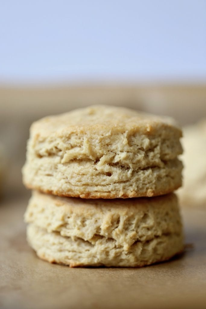 two vegan biscuits stacked on each other