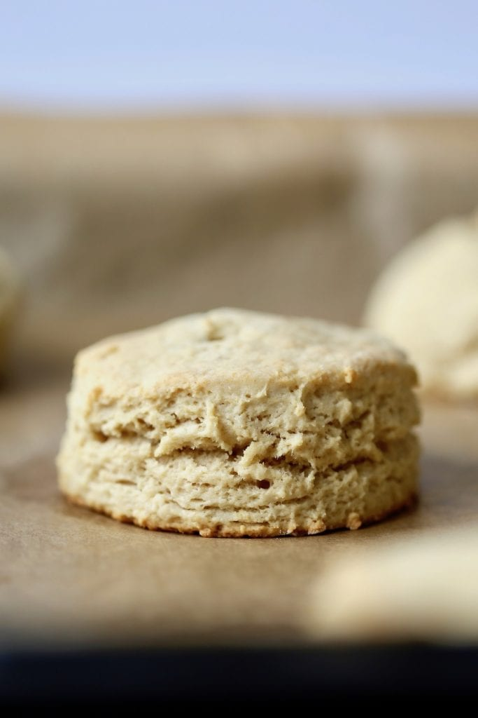 a vegan biscuit cooling on parchment paper