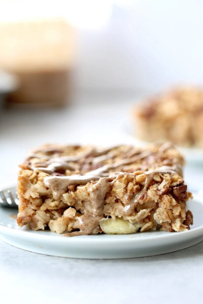 a thick slice of baked oatmeal on a plate