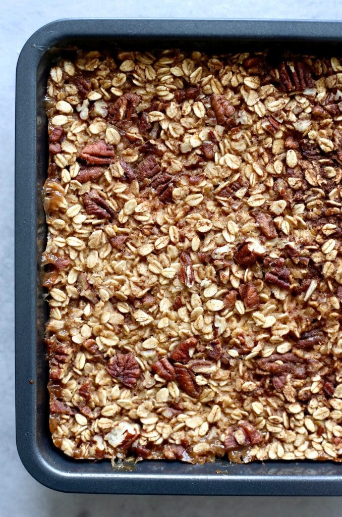 maple pecan baked oatmeal in a pan