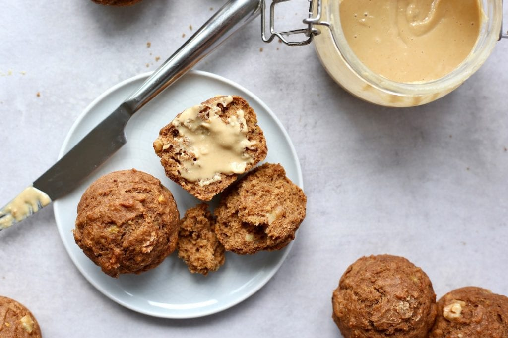 banana nut muffins spread with peanut butter