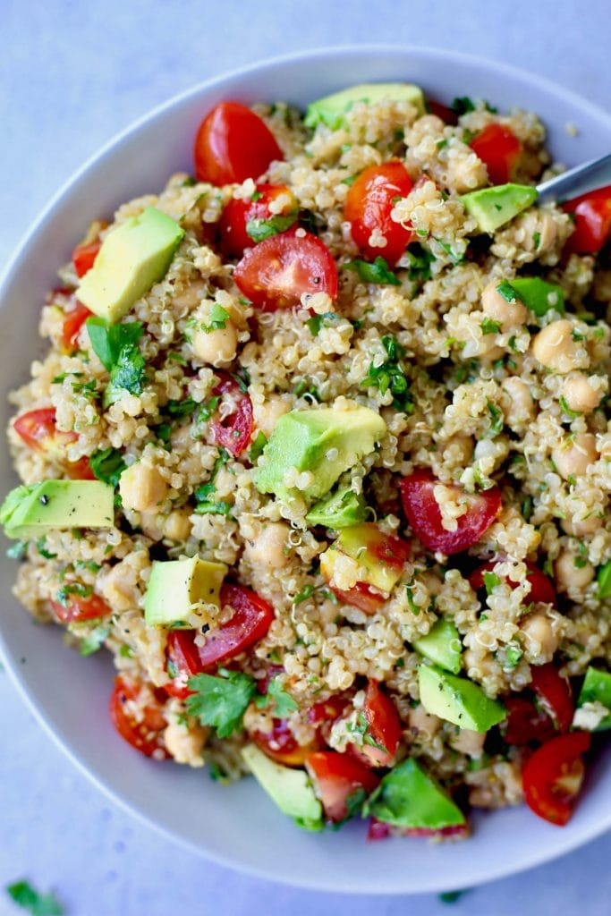 colorful quinoa salad in a bowl