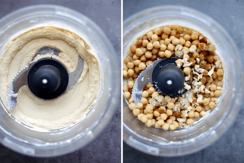 tahini and lemon juice blended into a paste and chickpeas, garlic and seasonings in a food processor