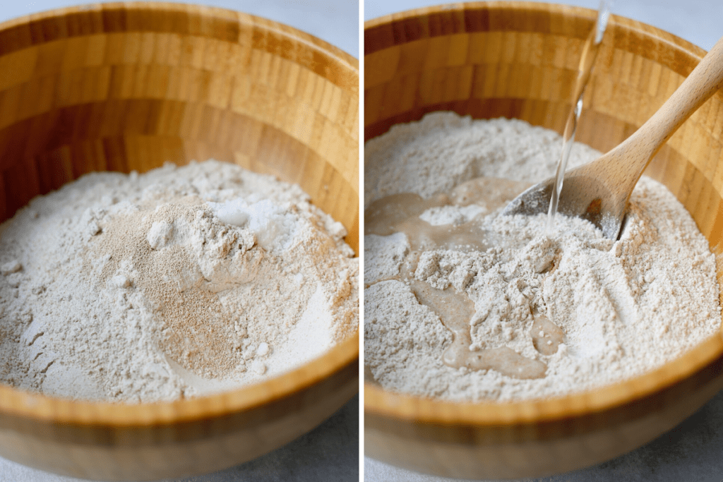pouring water into a mixture of flour, salt and yeast