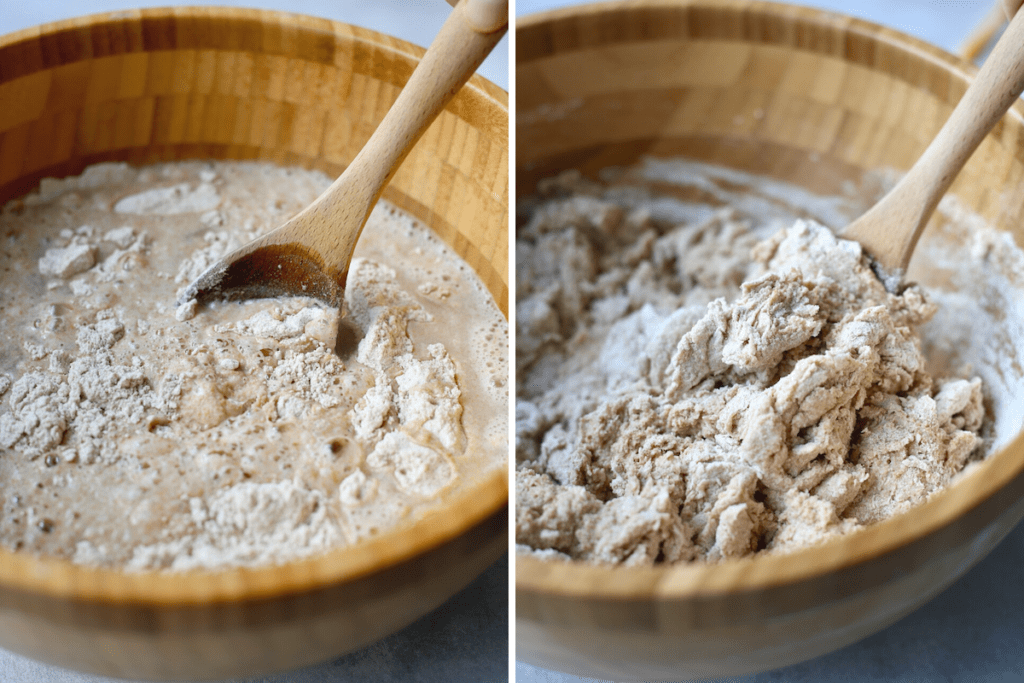 Stirring dough together with a wooden spoon