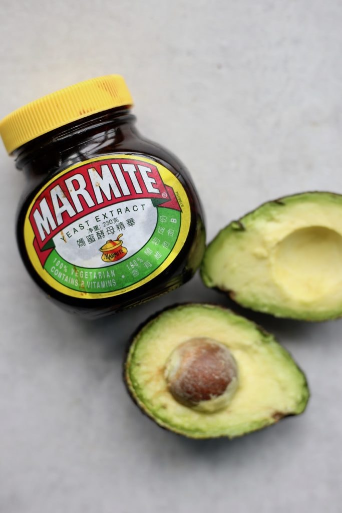 Marmite and an open avocado