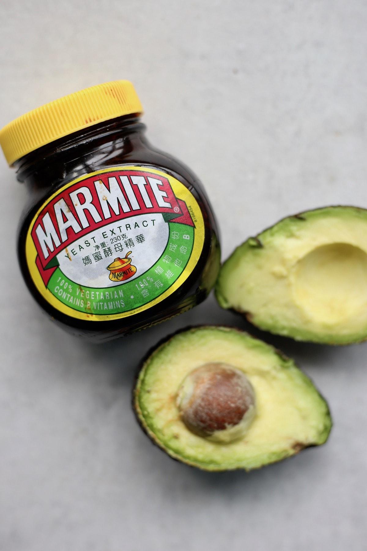 Marmite and an open avocado