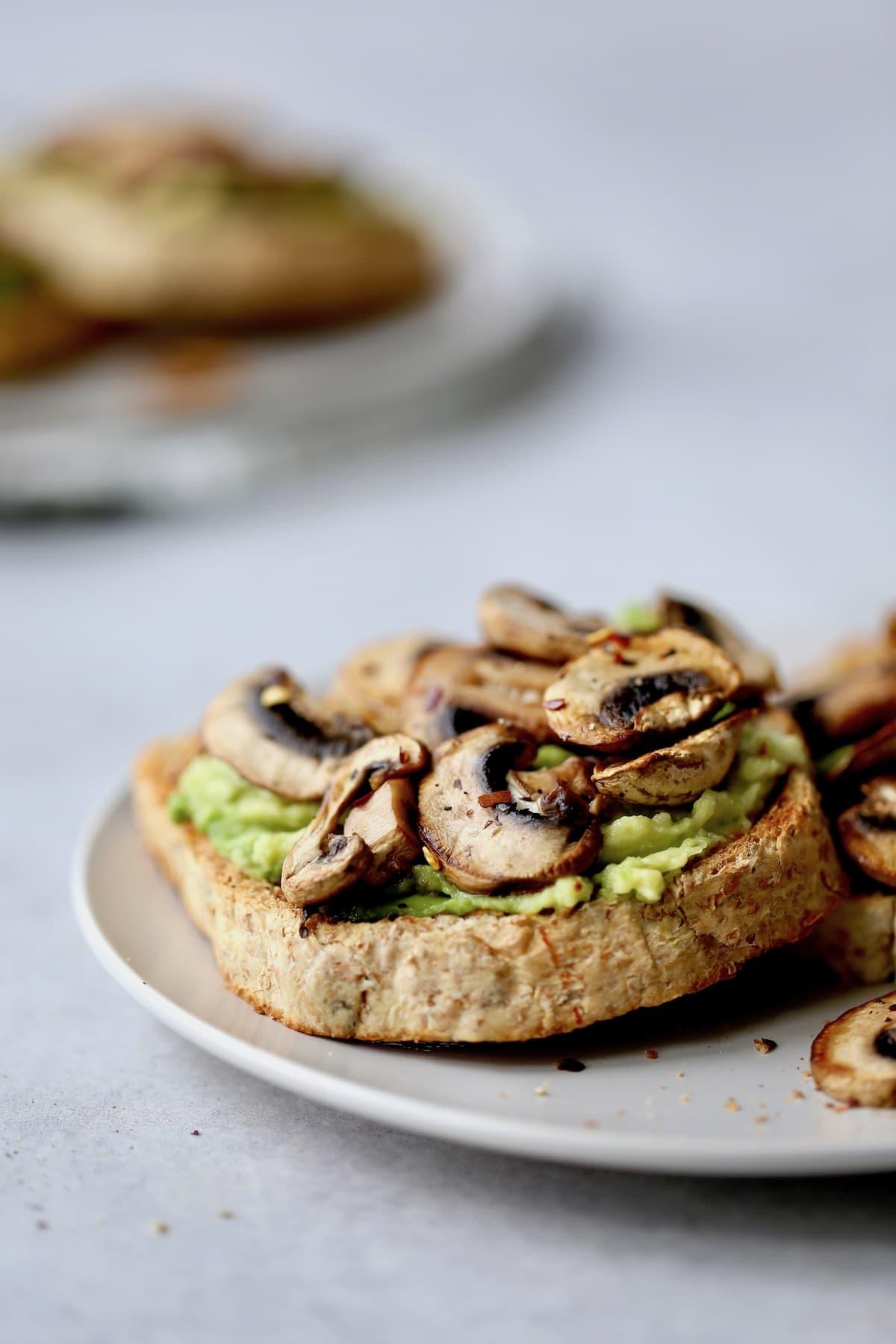Sauteed mushrooms on avocado toast