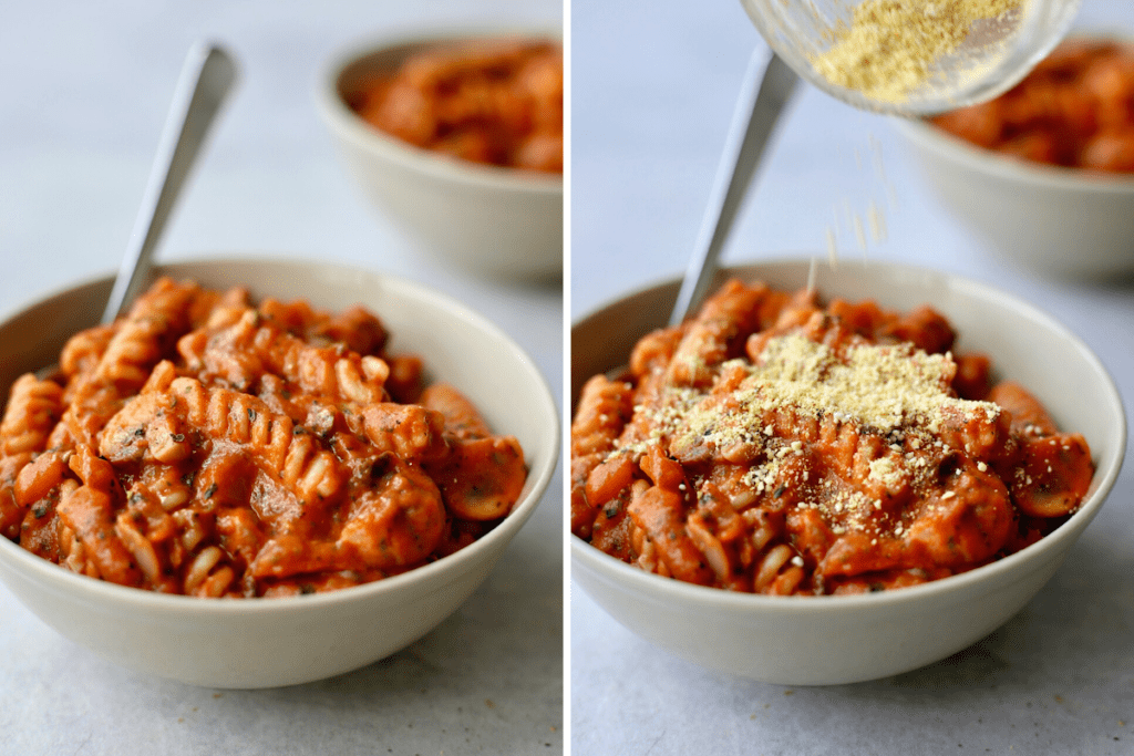 a collage showing vegan parmesan cheese being sprinkled on top of creamy one-pot marinara pasta