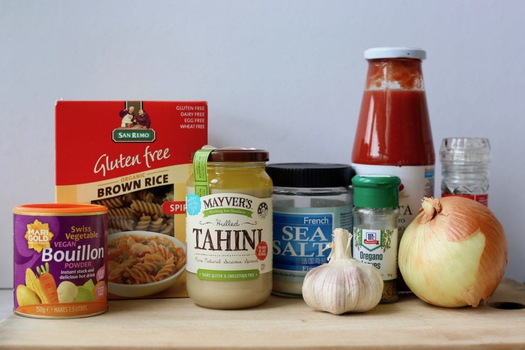 the ingredients you'll need for one-pot creamy marinara pasta