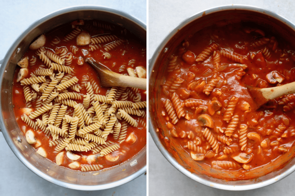 dried pasta cooking in a saucepan until soft