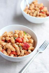 simple vegan pasta in a bowl