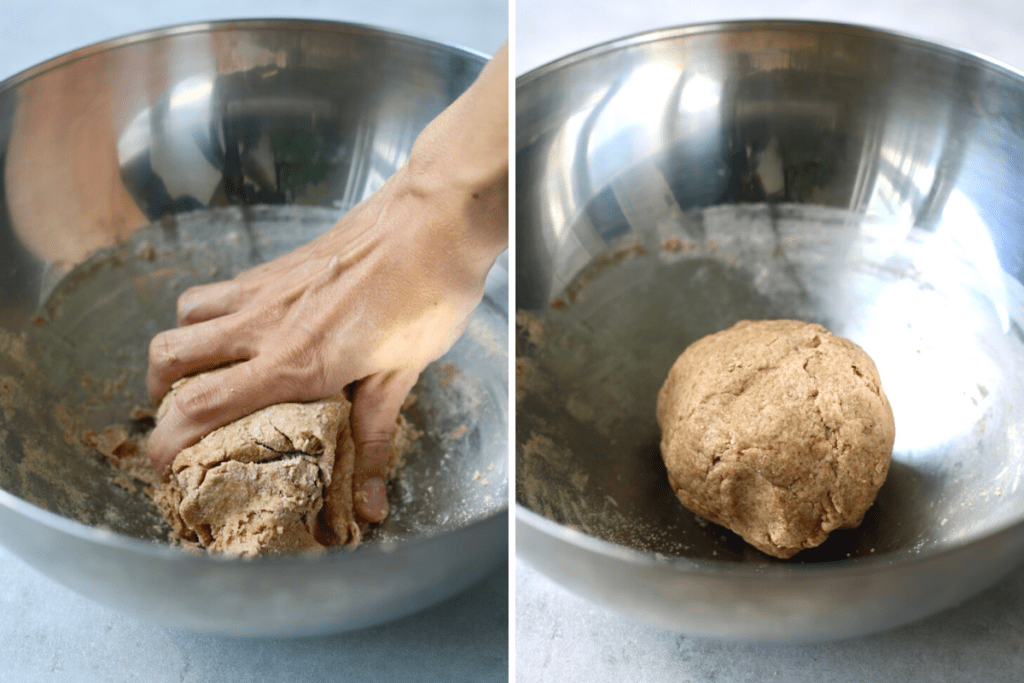 Whole wheat vegan pizza dough being kneaded into a ball