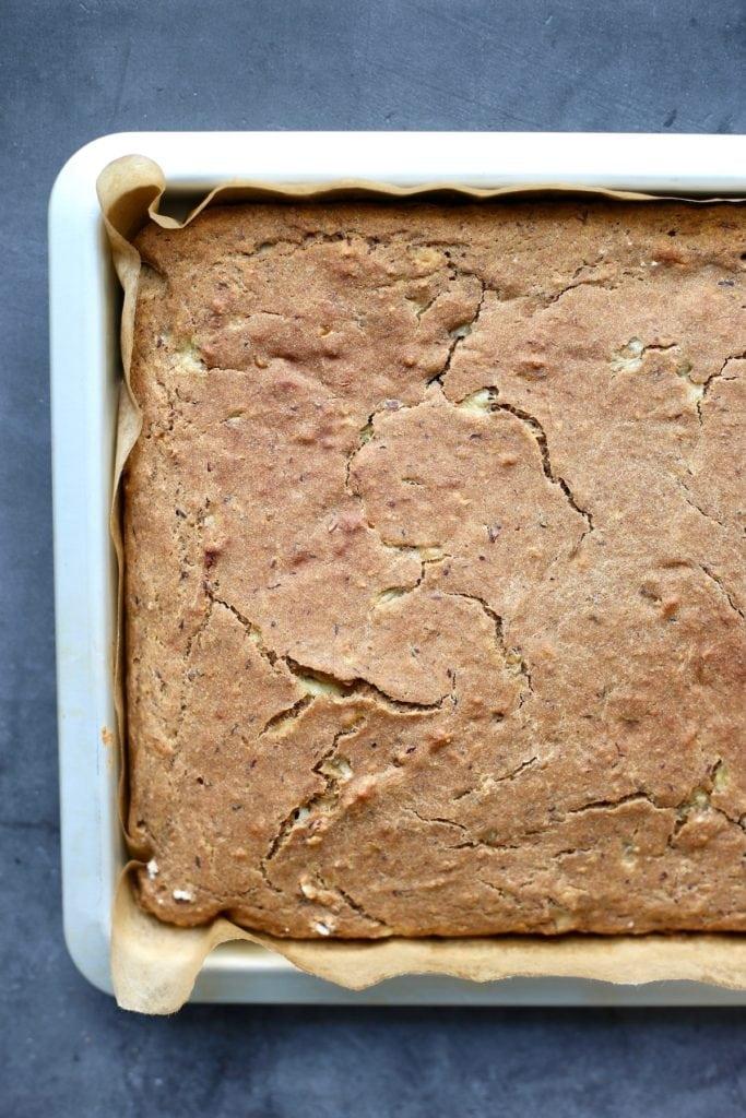 Whole wheat vegan banana pancakes baked in a sheet pan