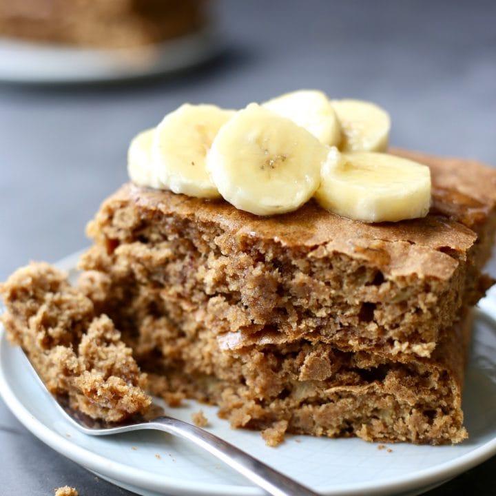 Whole Wheat Vegan Banana Pancakes (Sheet Pan Option!