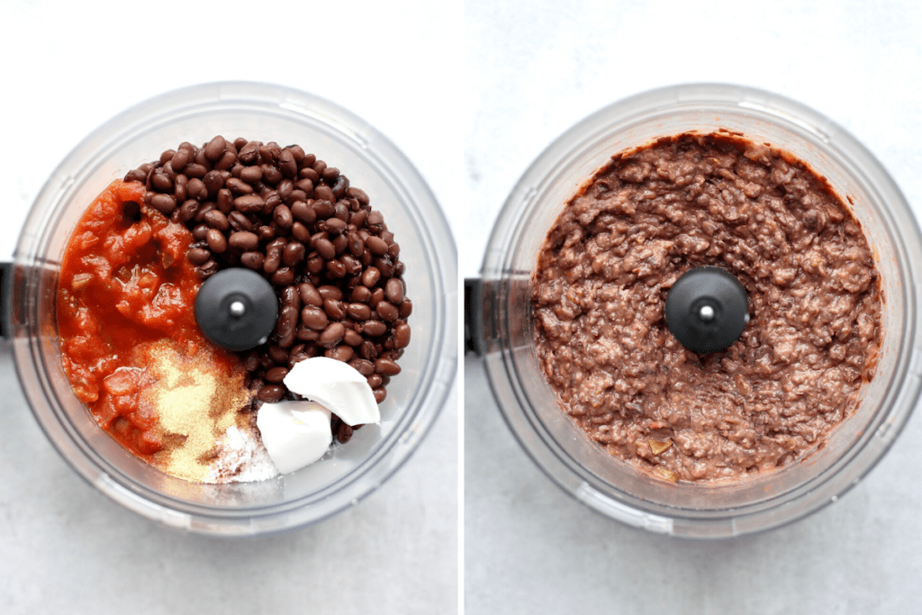 cheesy vegan black bean dip before and after processing in a food processor