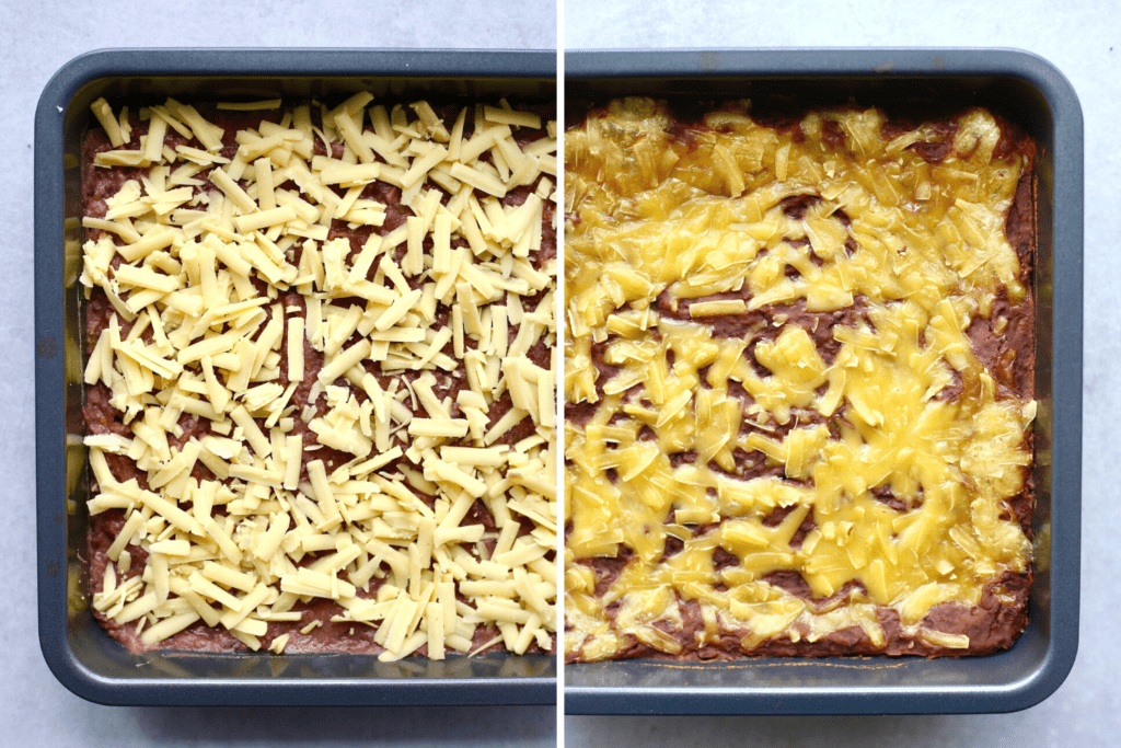 Cheesy vegan black bean dip before and after baking
