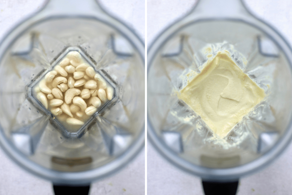 A collage showing a creamy cashew dressing before and after blending