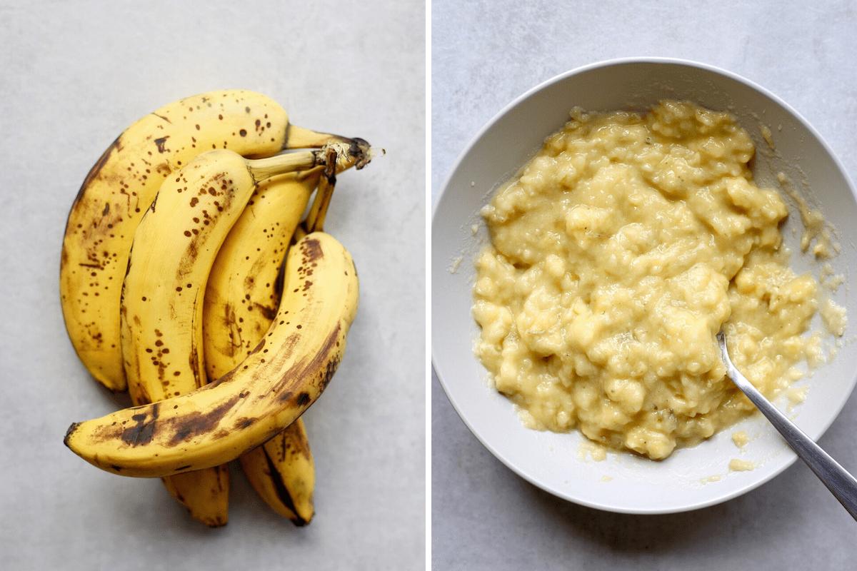super ripe bananas and banana mash side by side