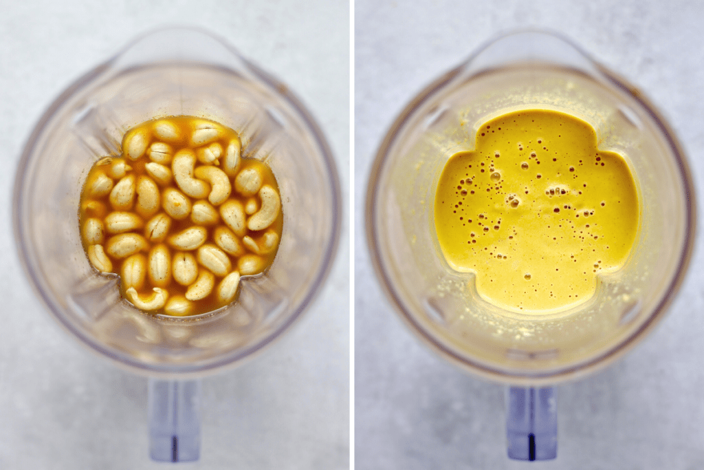 a collage of cashew nacho cheese ingredients in a blender and the cashew cheese blended until smooth