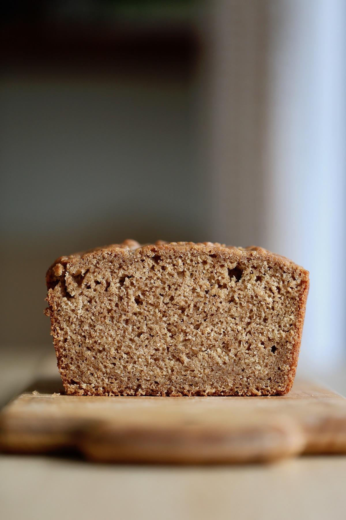vegan applesauce bread on a cutting board