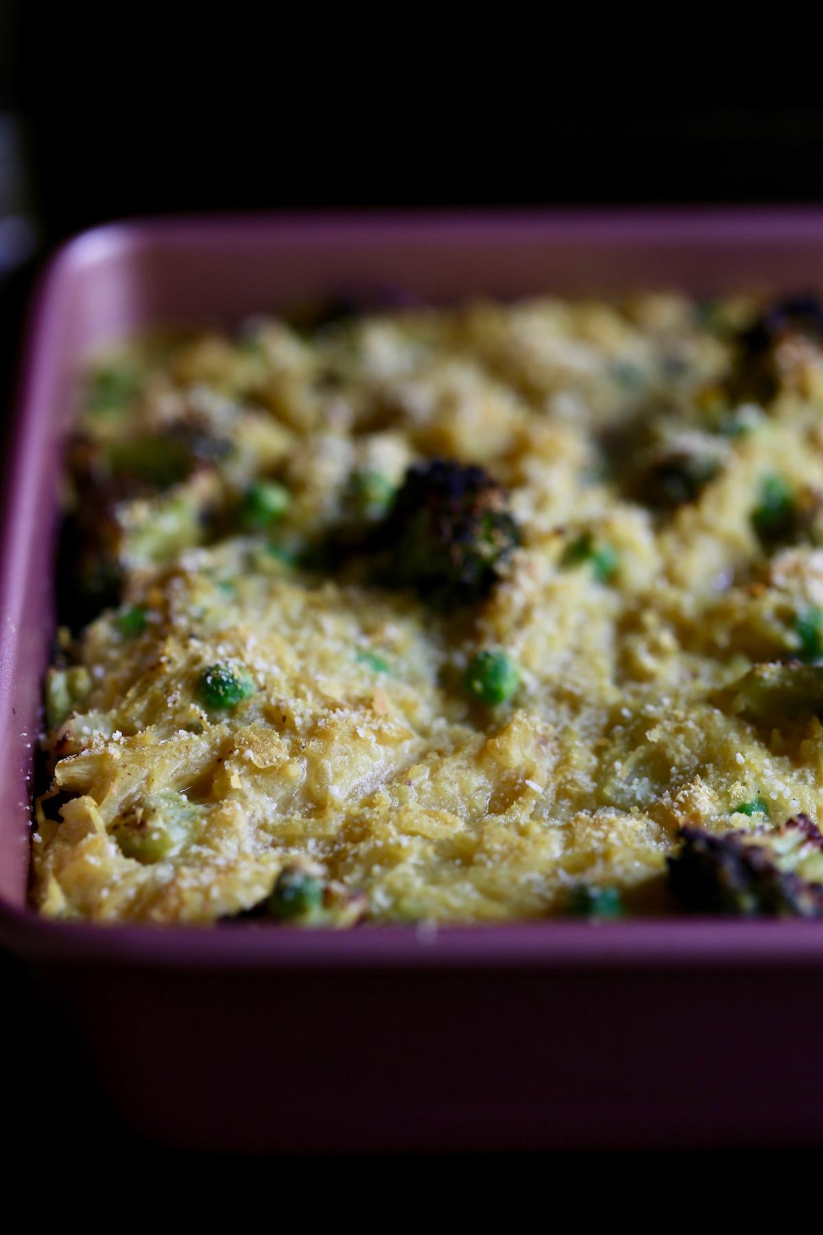cheesy vegan spaghetti squash casserole hot out of the oven