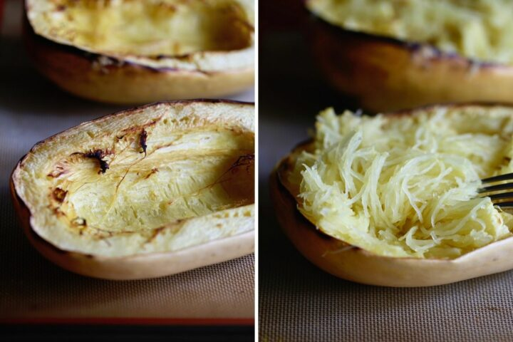 a spaghetti squash before and after it has been shredded into noodles