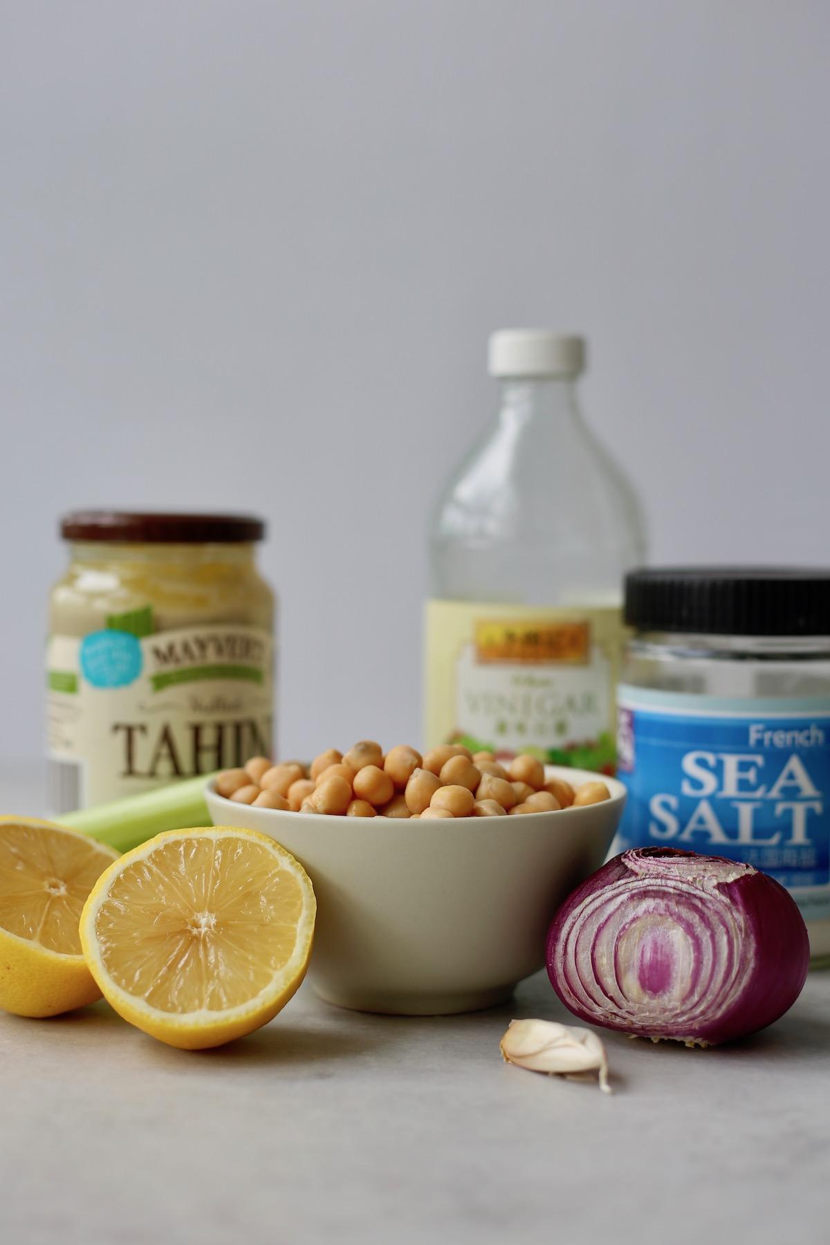 ingredients you'll need to make vegan chickpea tuna salad