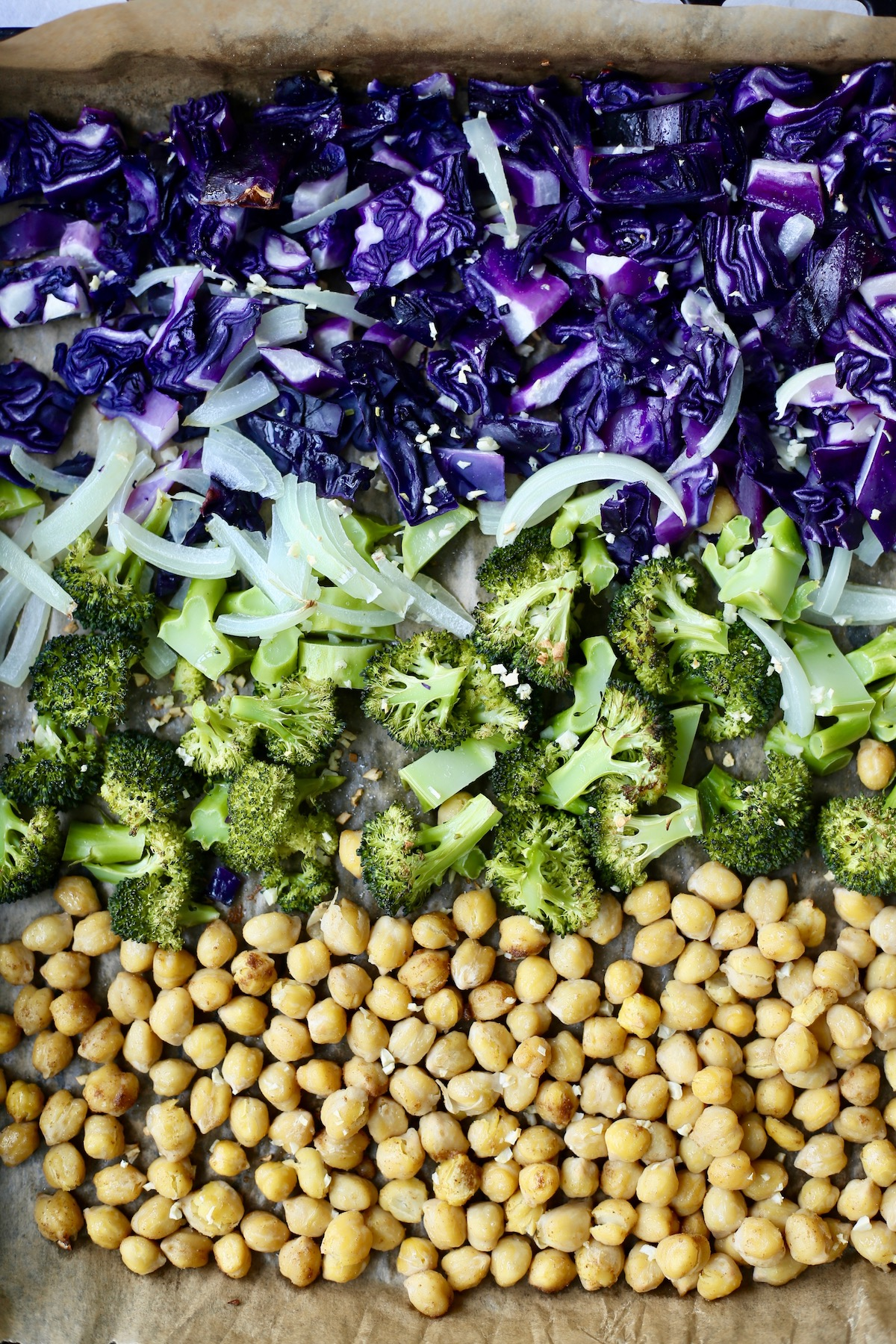 broccoli, cabbage and chickpeas roasted on a baking sheet