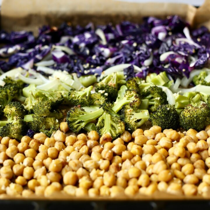 Chickpeas, broccoli and red cabbages perfectly roasted on a sheet pan