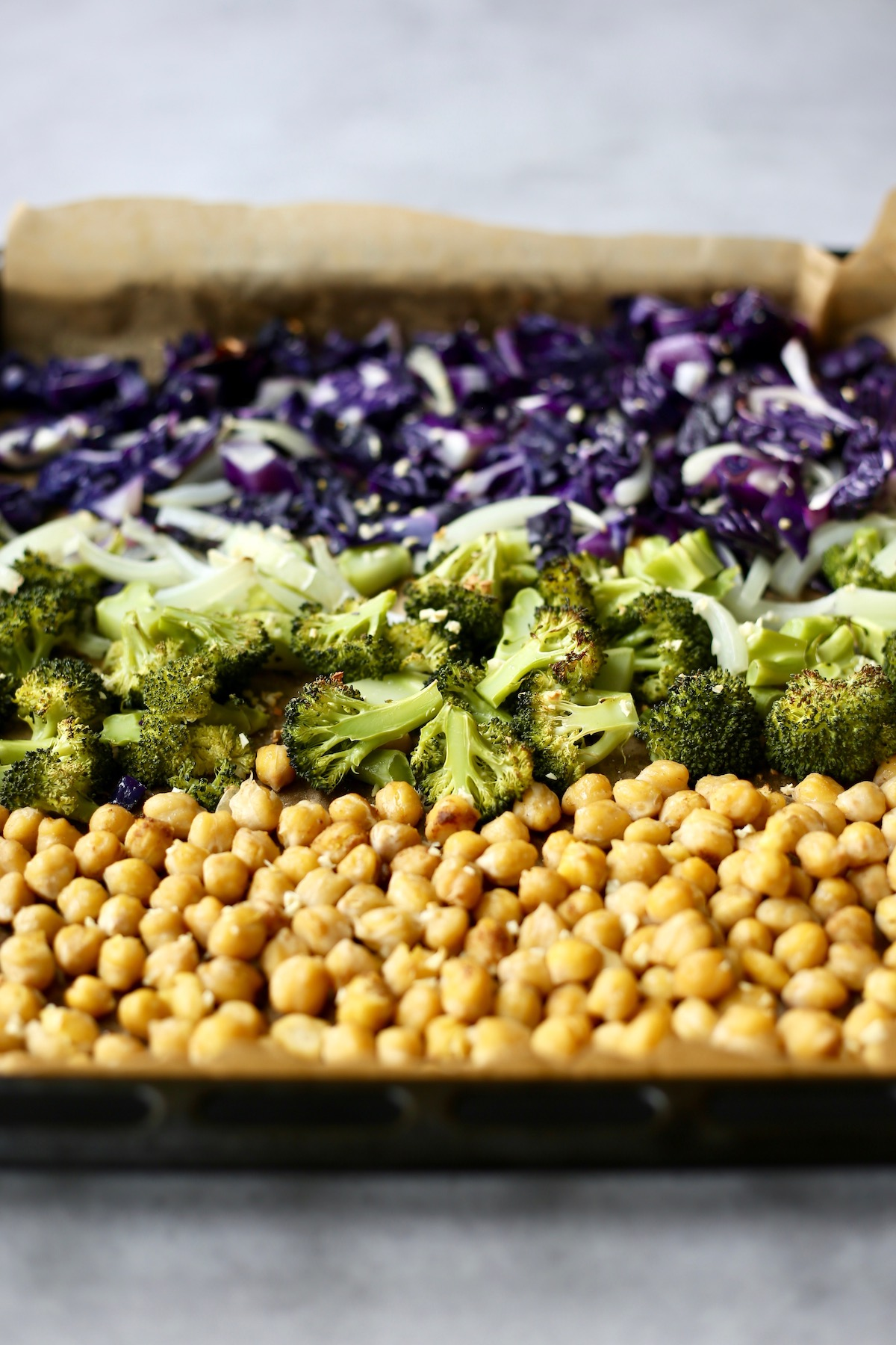 cabbage, broccoli and chickpeas after they've been roasted in the oven