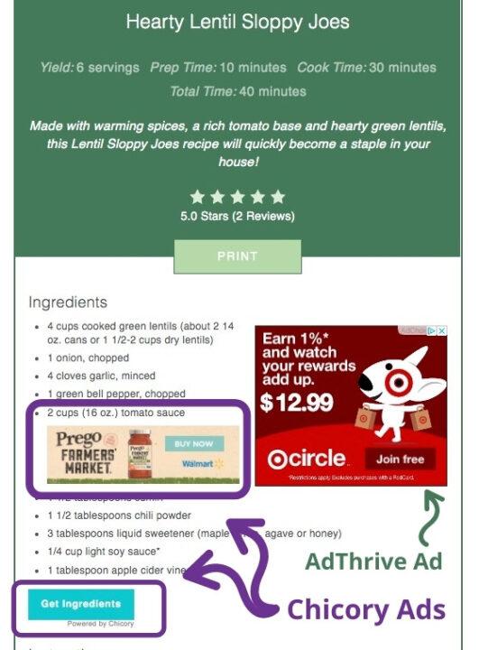 Chicory ads in recipe card