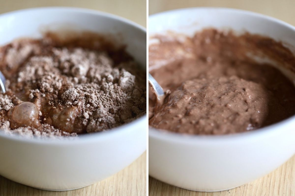 chocolate protein blended baked protein oatmeal batter before and after stirring