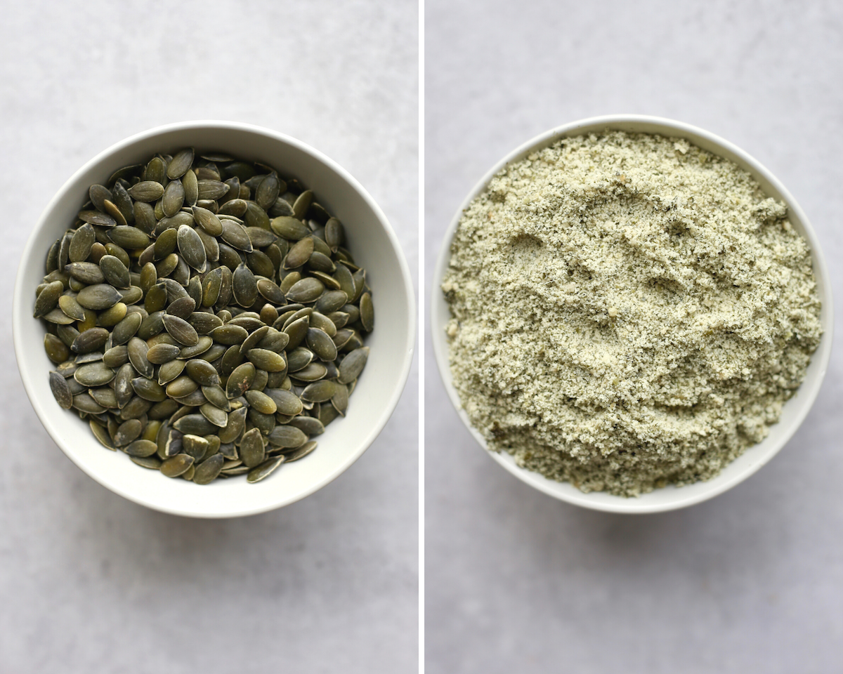 Pumpkin seed before and after being ground into flour