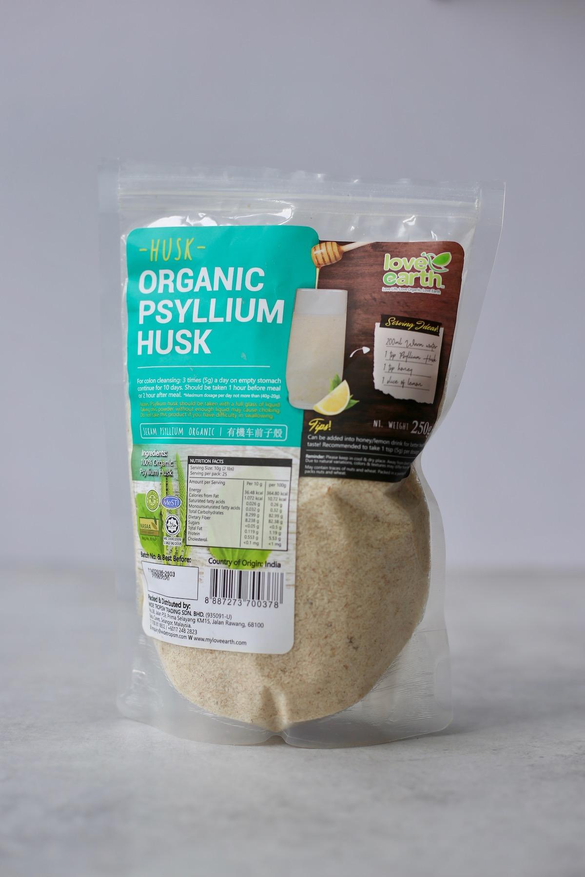 Organic psyllium husk powder being used for gluten free bread