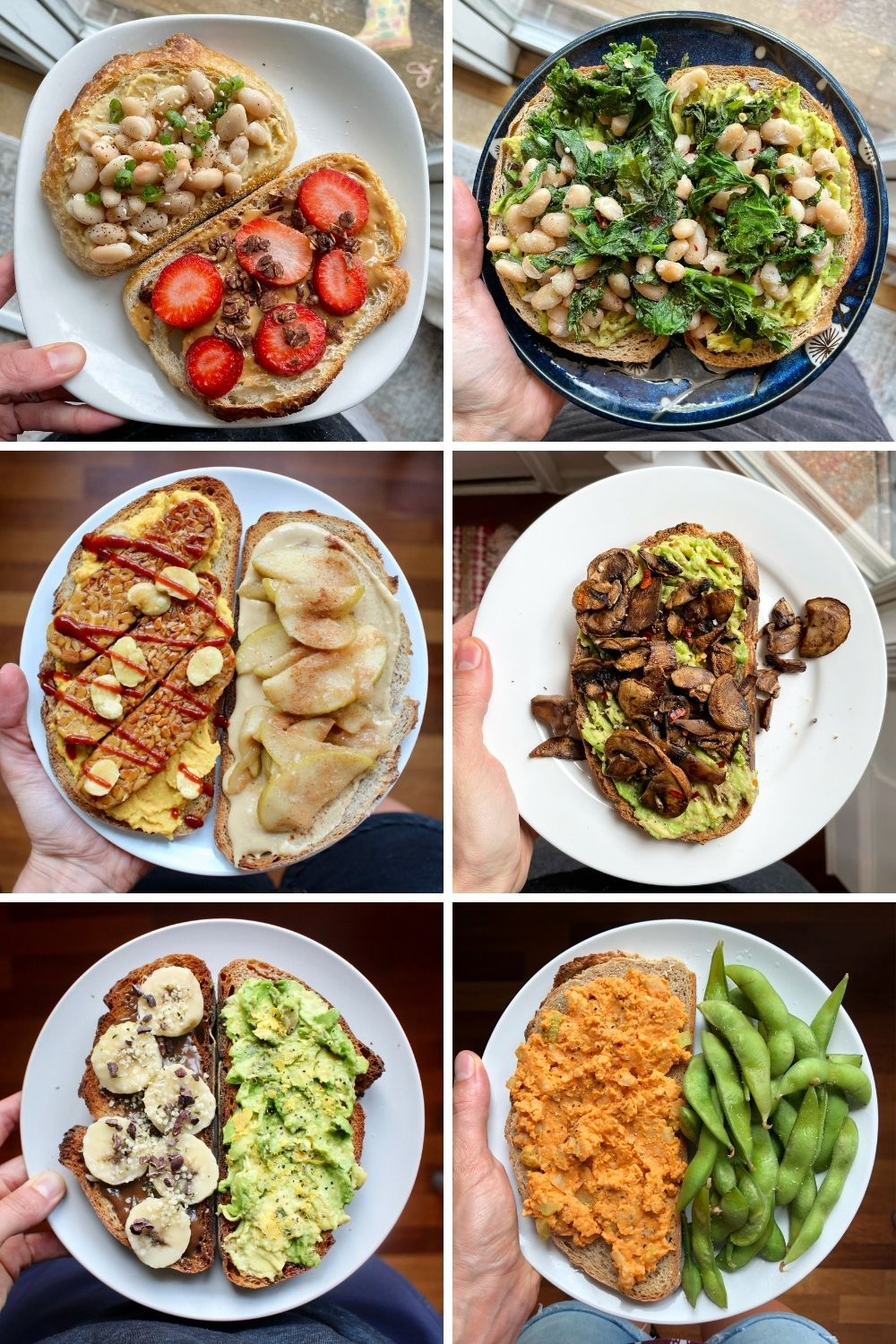 a collage of creative plant-based toast ideas
