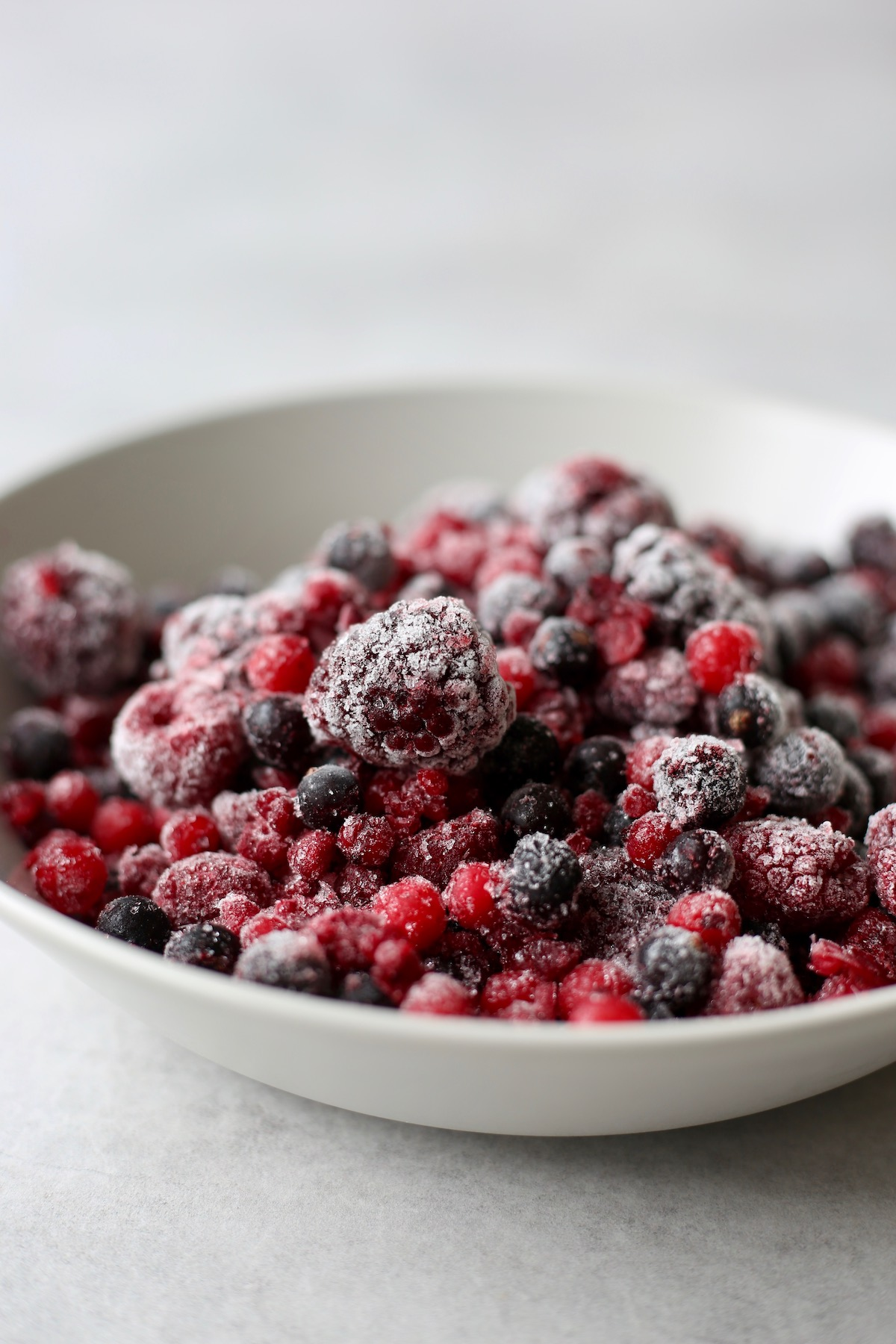 icy frozen berries in a bowl