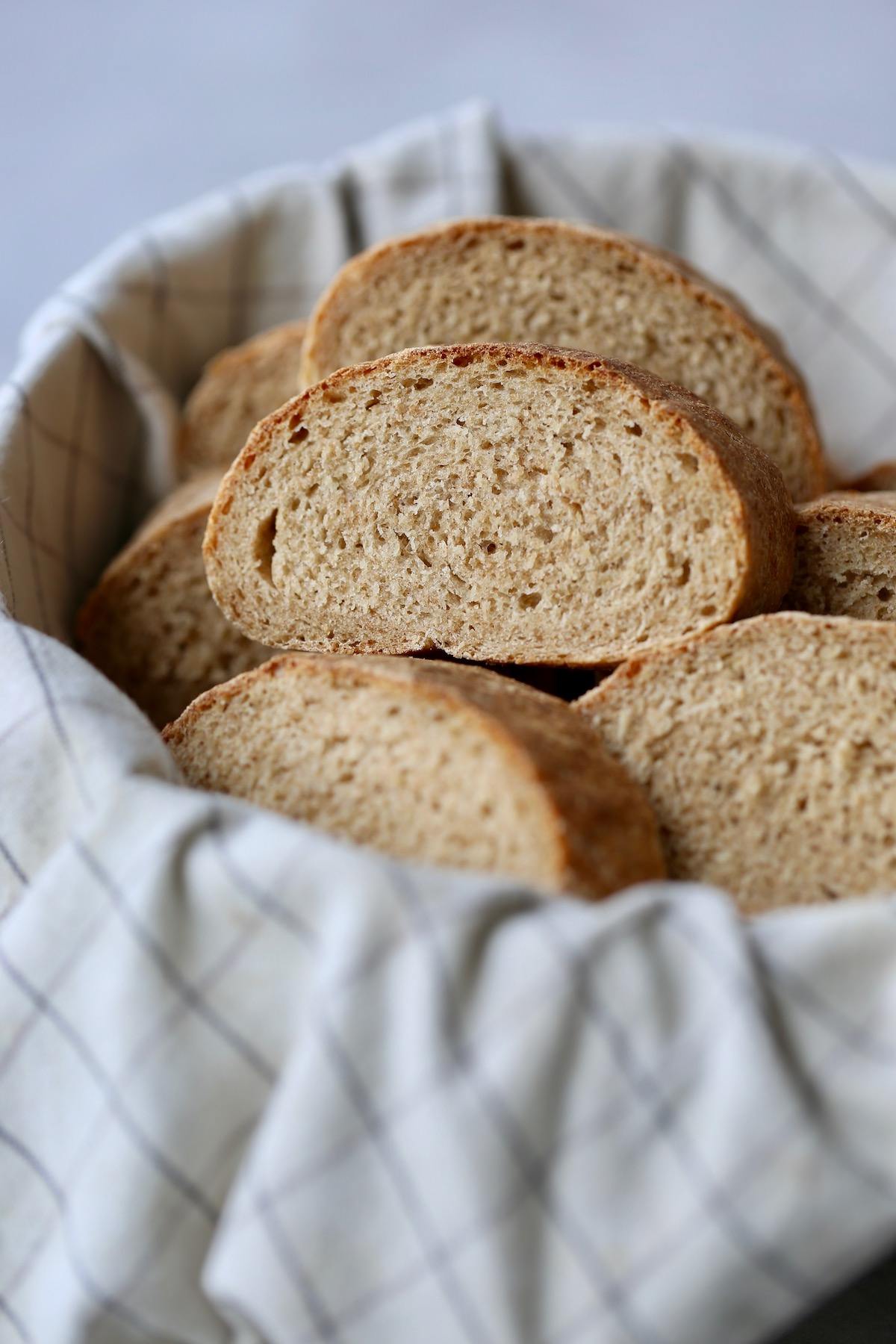 Slices of homemade Italian bread piled high in a basket